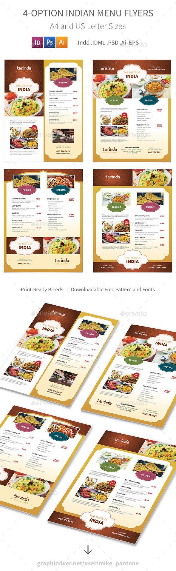 Indian Restaurant Menu Flyers – 4 Options | Food menu, Print ...