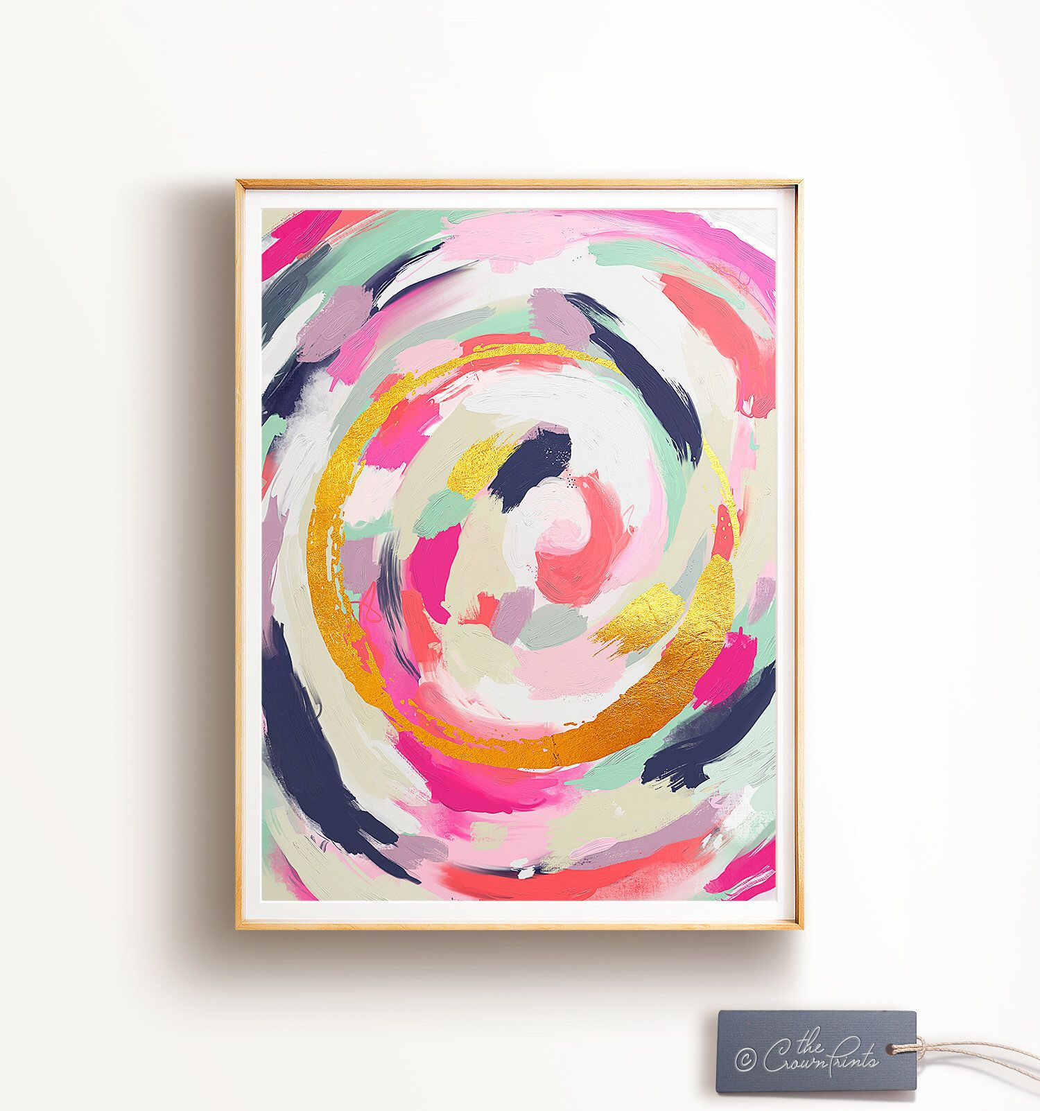 Abstract art PRINTABLE art, Wall art, Abstract painting, Modern art, Brushstroke art, Glam decor, Pink & gold art, Abstract print, Trendy