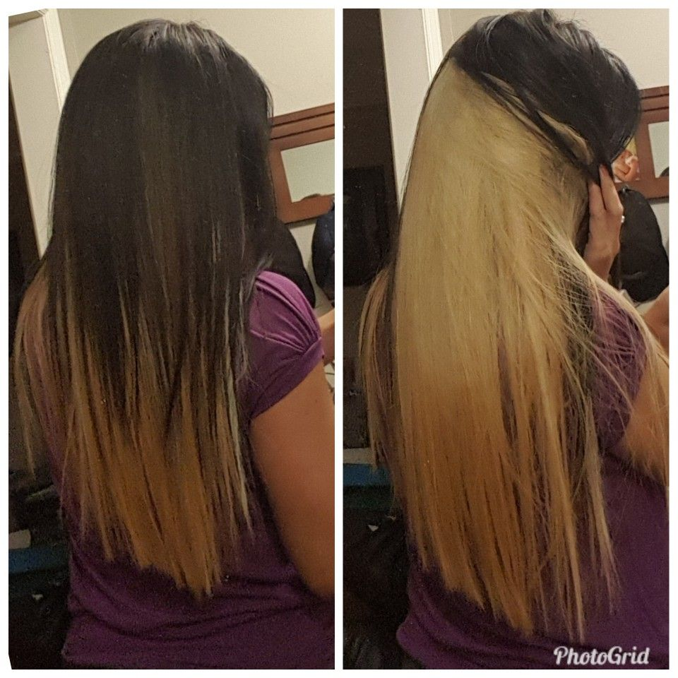 Black Hair On Top Blonde Underneath Blonde Underneath Hair Hair Styles Blonde Underneath