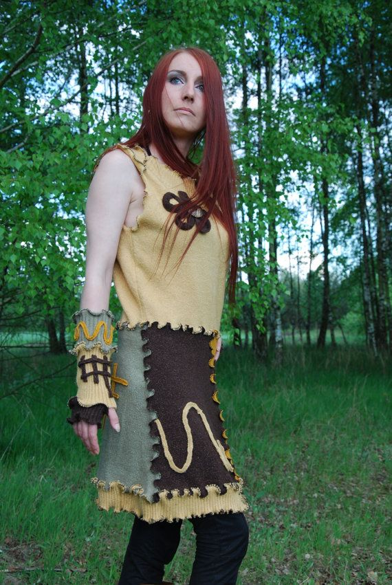 Recycled Sweater Applique Tunic Dress in Autumn Colors Fairy Pixie Elven Nymph Dryad OOAK Woodland Fantasy Hippie Boho Gypsy Mini Dress