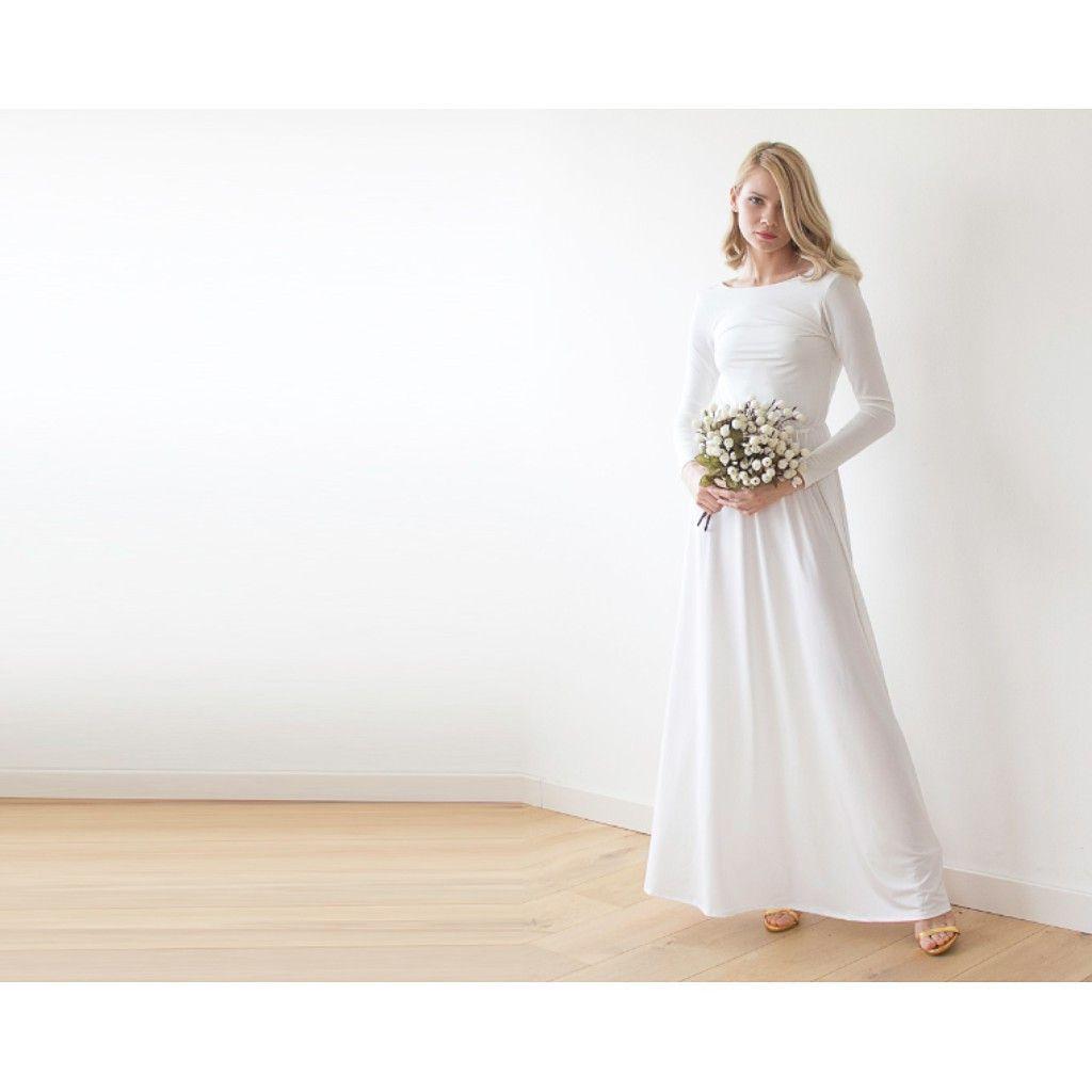 Open back maxi white dress ivory long sleeves wedding dress cowl