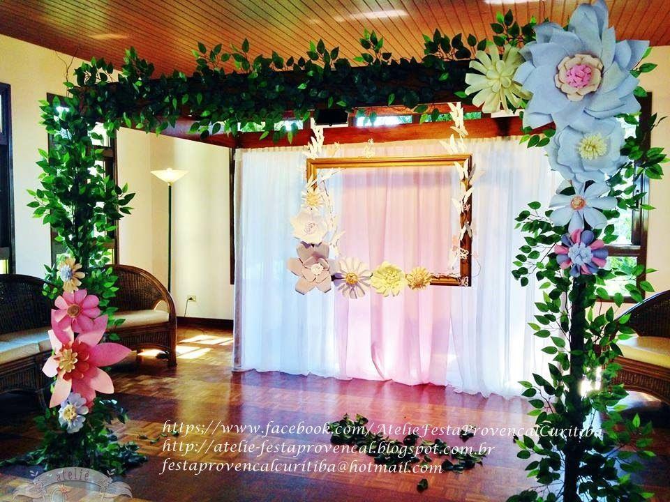 Ateli u00ea Festa Provençal Pergolado com flores gigantes para fotos de Festa Jardim PERGOLADO  -> Decoração De Aniversário Com Flores Gigantes