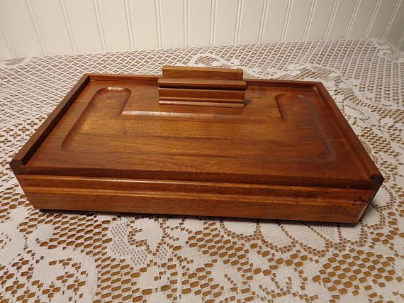 Vintage Men S Wood Dresser Valet Jewelry Box With