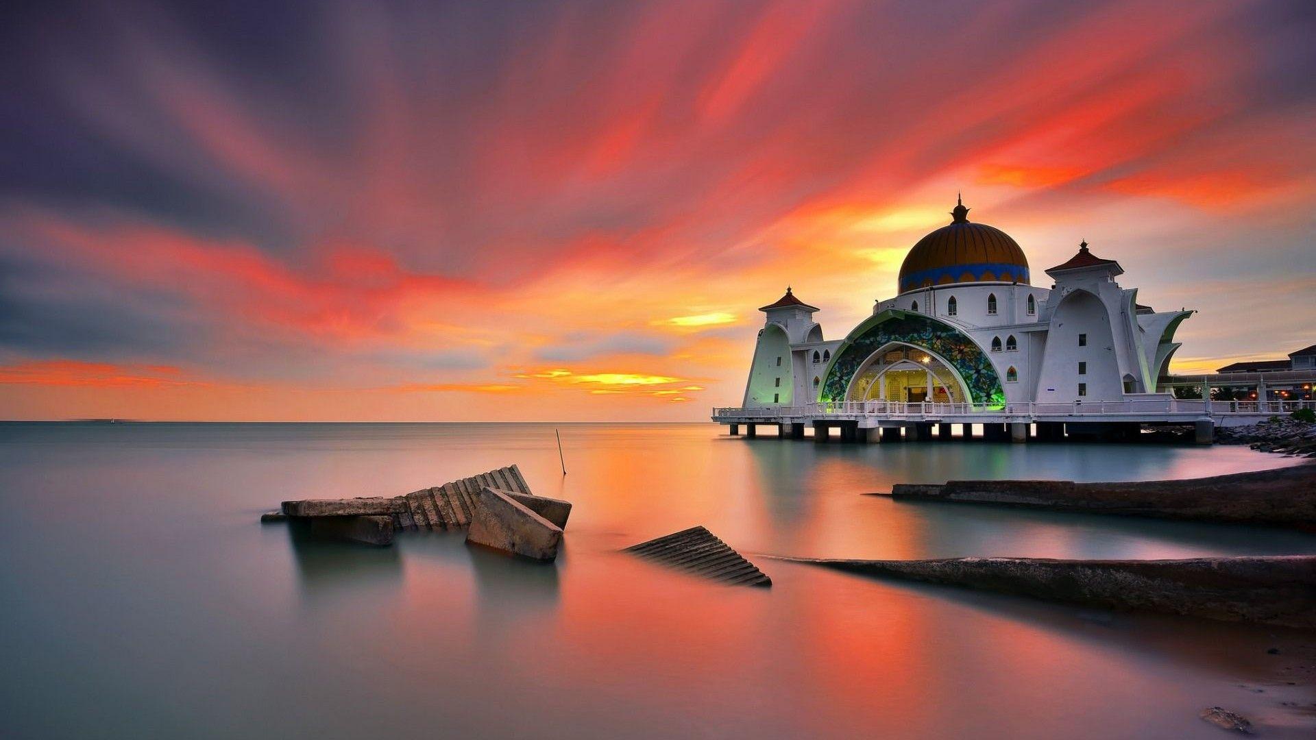 3d Wallpaper Of Madina Full Hd Selat Melaka Mosque Malaysia Desktop Wallpaper