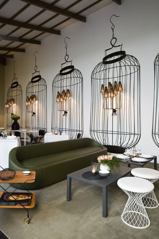 Large Scale Birdcage Decals On Wall In The Home Delicate Restaurant Milan Interior Design By Logicaarchitettura