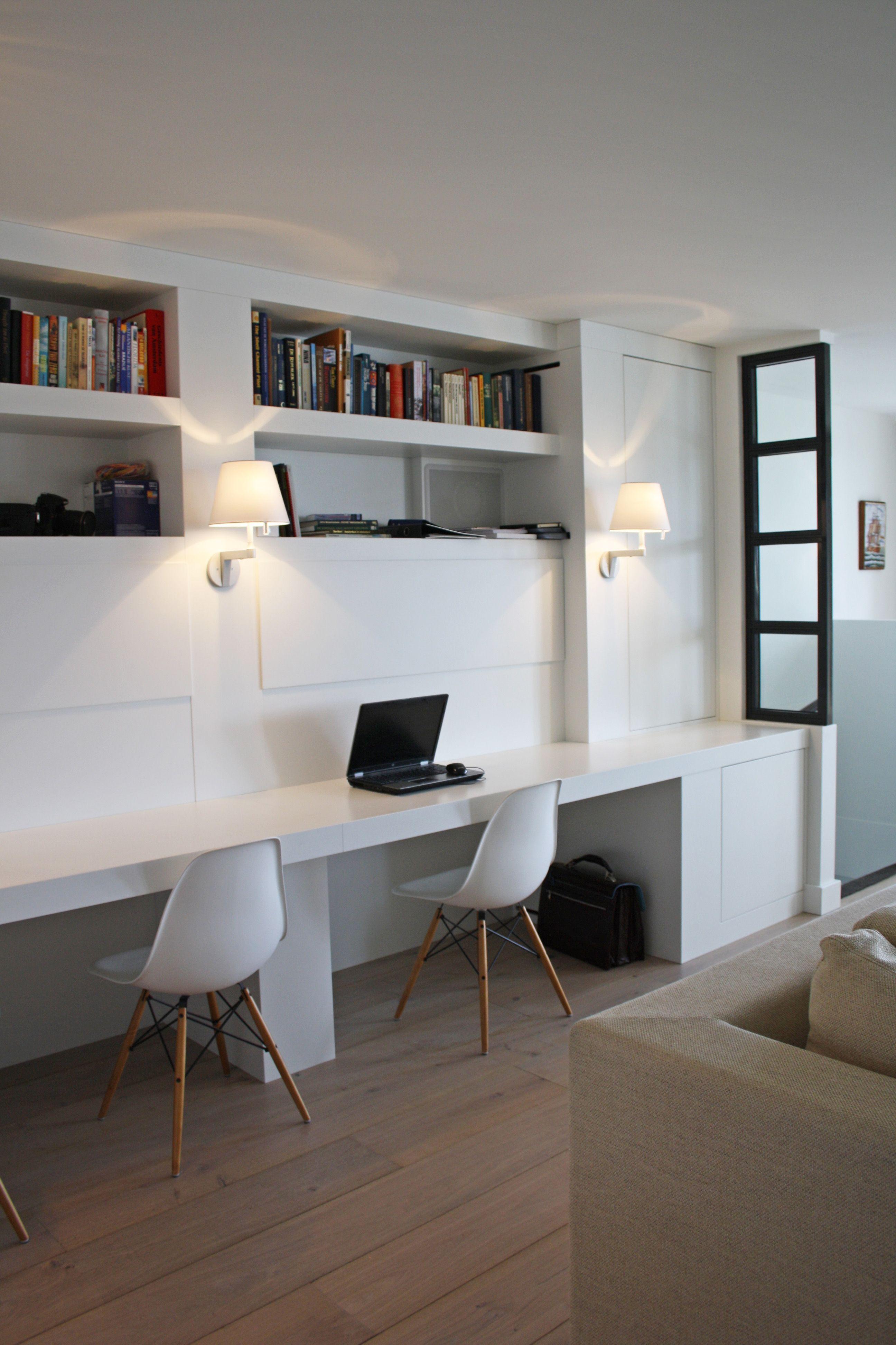 werkplek in de woonkamer - wandlampen - glazen scheidingswand ...