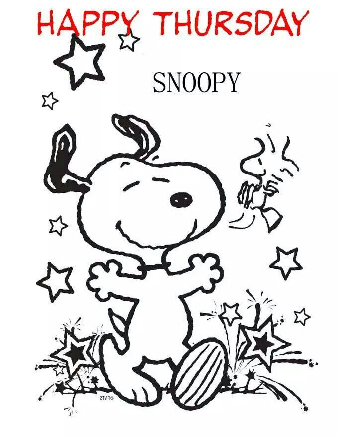 Happy Thursday - Snoopy Dancing With Woodstock With Stars Around ...