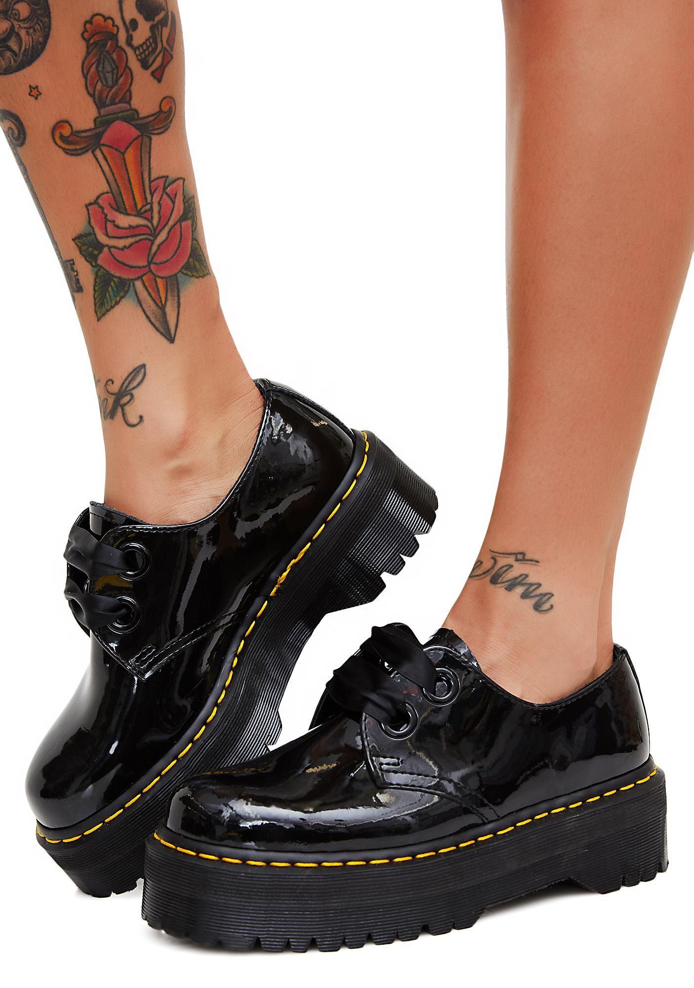 Details about Dr. Martens Women 1461 Quad Holly Style Black Rainbow Patent Platform ALL Sizes!