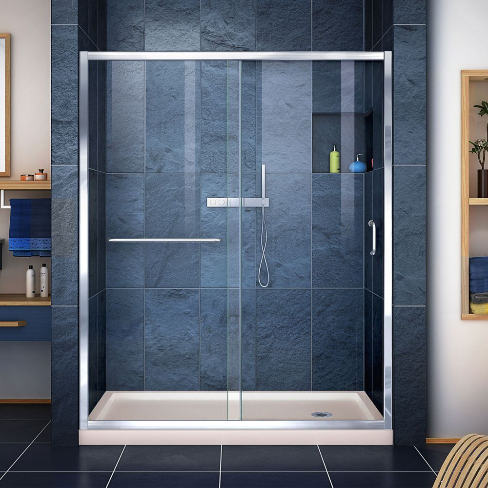 Infinity Z 32 Inch D X 60 Inch W Clear Shower Door In Chrome And Right Drain Biscuit Base Frameless Sliding Shower Doors Shower Doors Frameless Shower Doors