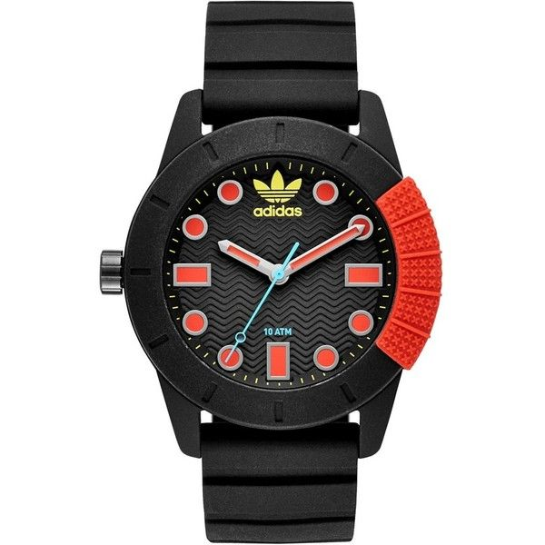 Adidas Adh-1969 Sport Silicone Strap Watch, 42Mm ($85) ❤ liked on Polyvore featuring jewelry, watches, adidas watches, rubber sport watches, red watches, rubber watches and sports wrist watch
