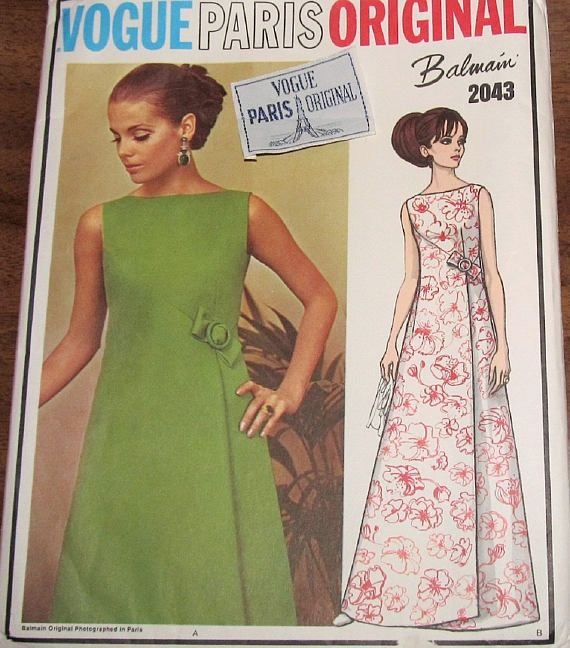 Vintage 1960s Sewing Pattern Vogue Paris Original 2043, Balmain Wrap ...