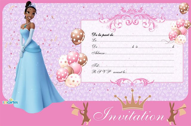 princesse cartes et invitations gratuites 123 cartes. Black Bedroom Furniture Sets. Home Design Ideas