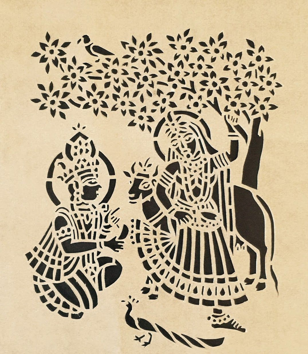 Sanjhi Art | Abstract pencil drawings, Fabric paint designs, Silhouette art