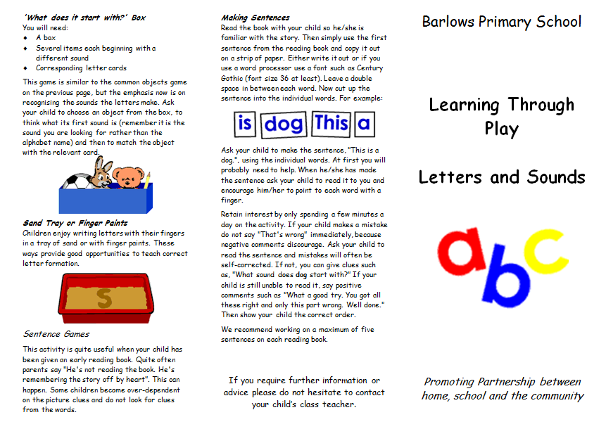 A Set Of Two Leaflets To Be Printed Out And Handed Parents Covers Phonics