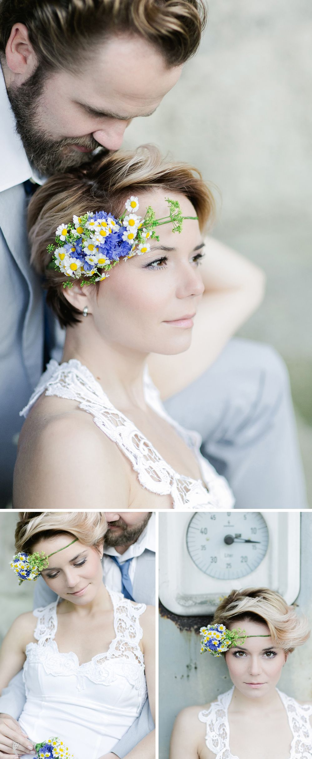 Short hair bride. minus the flower crown for either of us really ...