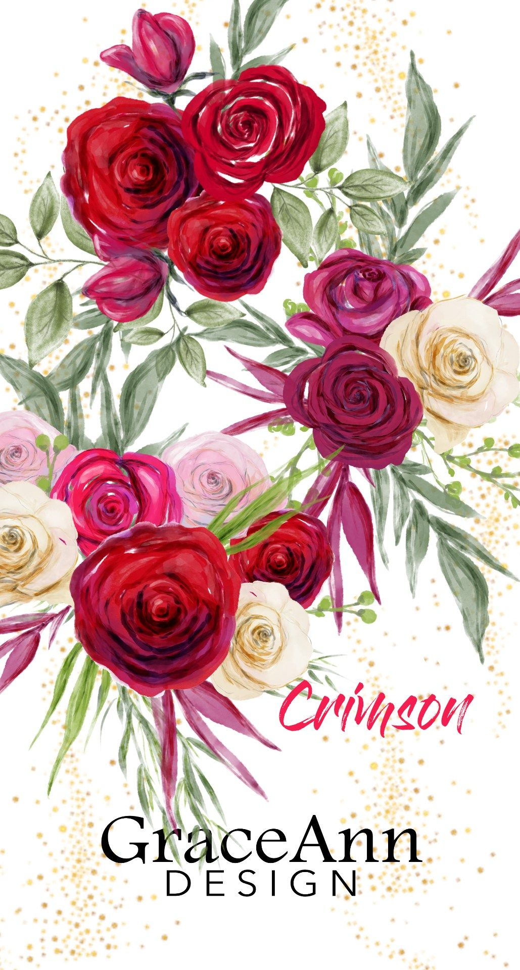 Watercolor Clipart, Fashion Clipart  Gorgeous Red, Pink & White