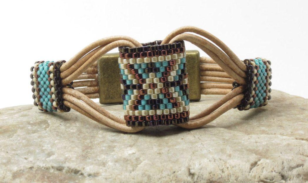 SINGLE WRAP LEATHER Bracelet-Miyuki Delicas-Peyote Stitch Tubes-Southwest-Boho-Chic-Hippie-Leather Cuff-(SW3)
