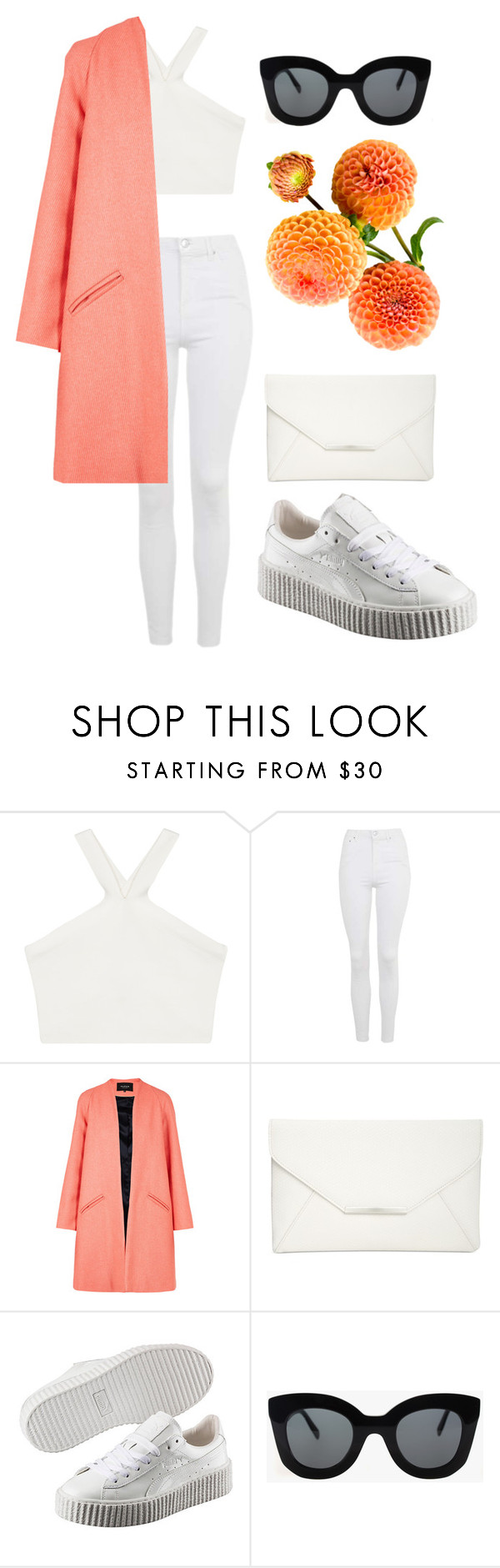 """""""46"""" by calliejenkins ❤ liked on Polyvore featuring BCBGMAXAZRIA, Topshop, Paper London, Style & Co., Puma, CÉLINE, white, peach, Clutch and puma"""