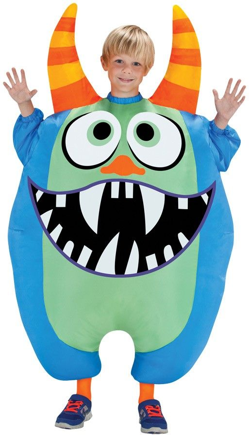 Inflatable Scareblown Blue Monster Child Costume