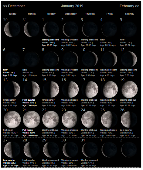 Moon Phases 2019 Calendar Moon Phases January 2019 Calendar | By The Magic Of Moonlight
