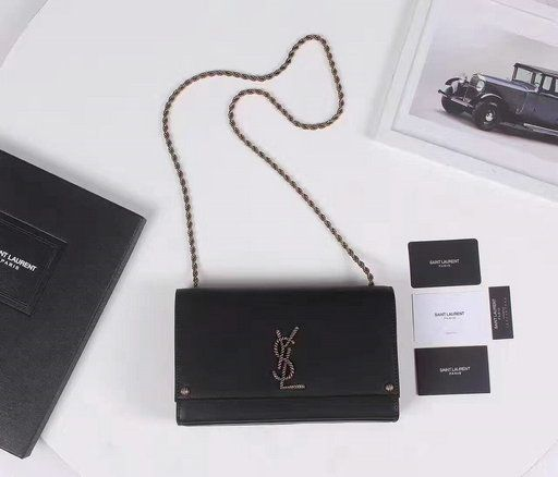 5bb1dfcaec 2017 New Saint Laurent Kate Monogram Crossbody Bag Black with braided metal  logo and chain strap