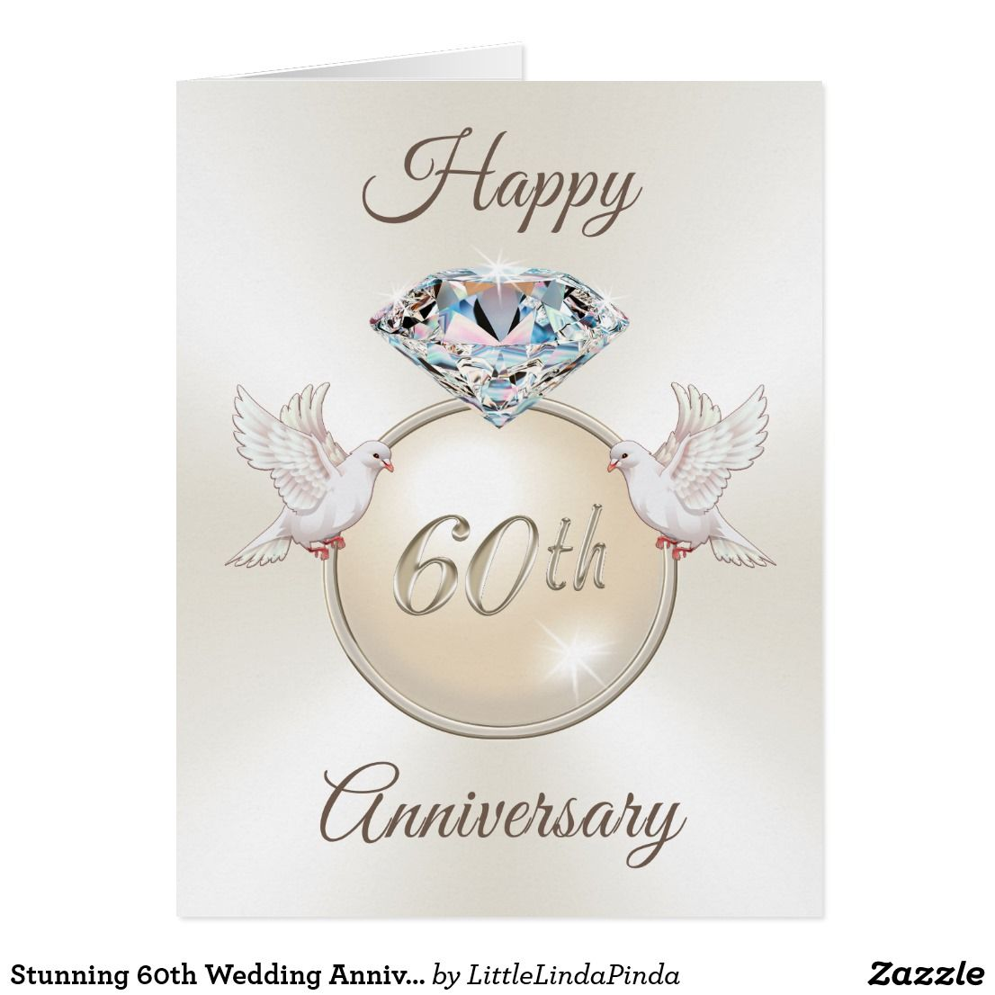 Stunning 60th Wedding Anniversary Cards In 3 Sizes Zazzle Com In 2021 Happy 60th Anniversary Wedding Anniversary Wishes Wedding Anniversary Cards