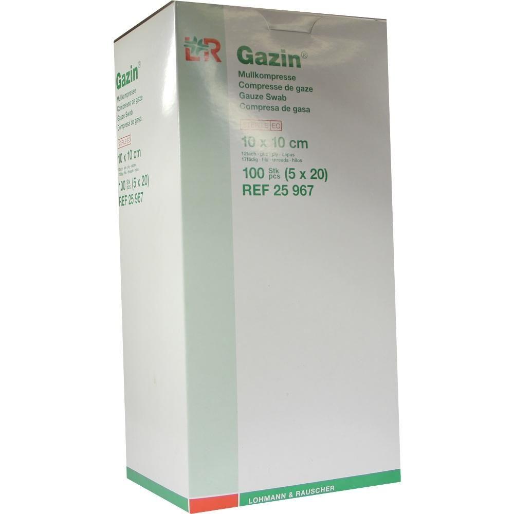 GAZIN Mullkomp.10x10 cm steril 12fach:   Packungsinhalt: 5X20 St Kompressen PZN: 01163684 Hersteller: Lohmann & Rauscher GmbH & Co.KG…
