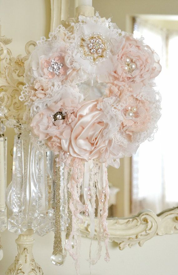 This listing is for one beautiful handmade fabric flower wreath by beautiful handmade fabric silk lace flower pale peach blush ivory wreath by jennelise rose mightylinksfo