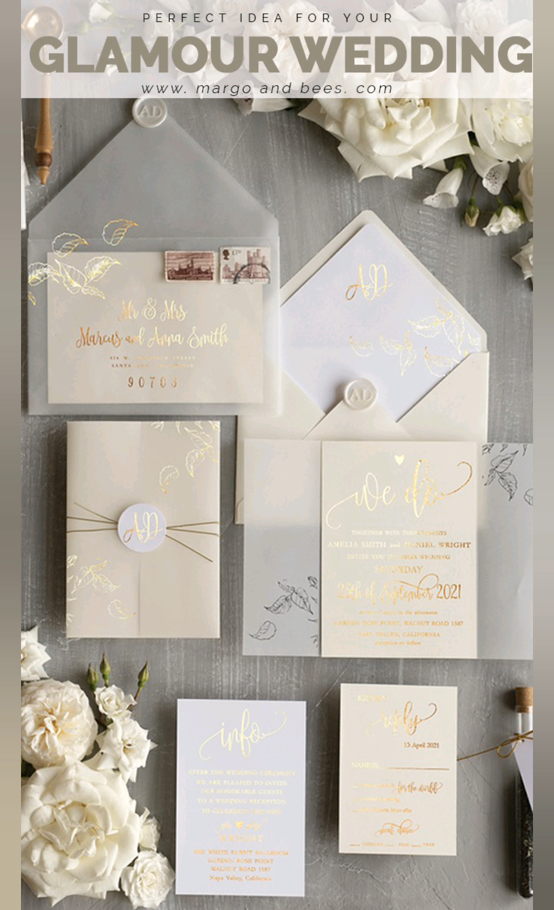 Simple And Elegant Wedding Invitations With Gold And Ivory Perfect For Classy In 2020 Elegant Wedding Invitations Classy Wedding Invitations Gold Wedding Invitations