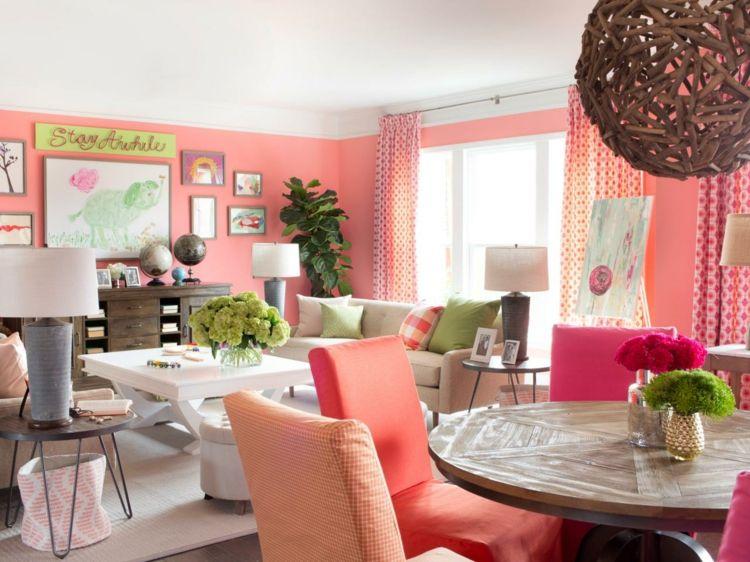 Wohnzimmer Idee mit Koralle als Wandfarbe Home Pinterest