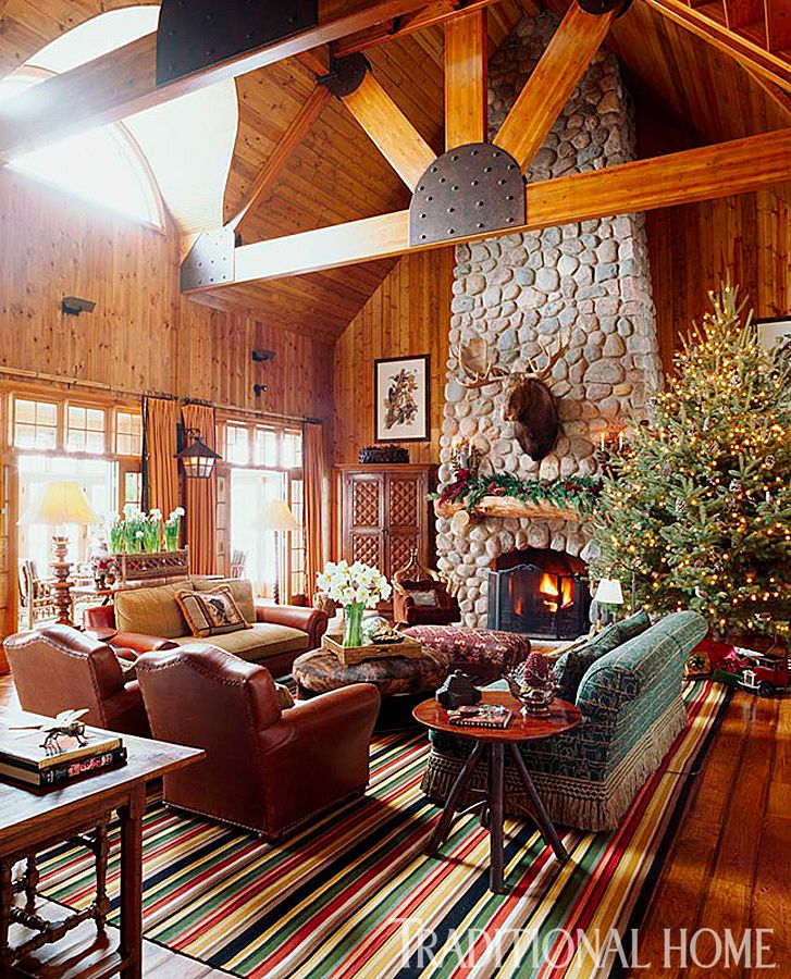 Rustic Log Cabin Christmas - so inspiring. Be sure to look through all the images & Rustic Christmas Decorating Ideas | Log cabin christmas Cabin ...
