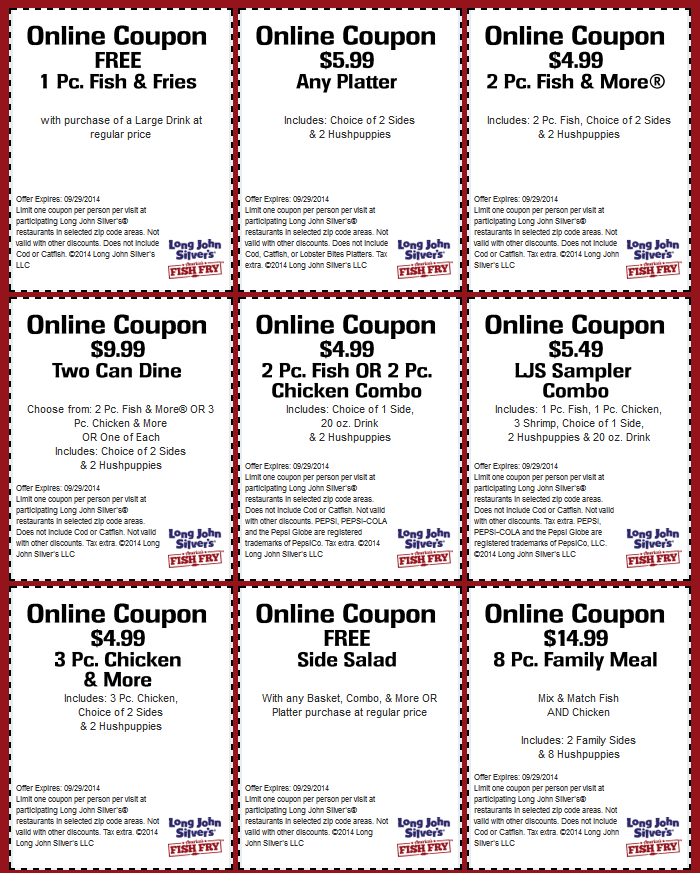picture regarding Long John Silver's Printable Coupons called Pin upon The Discount codes Application