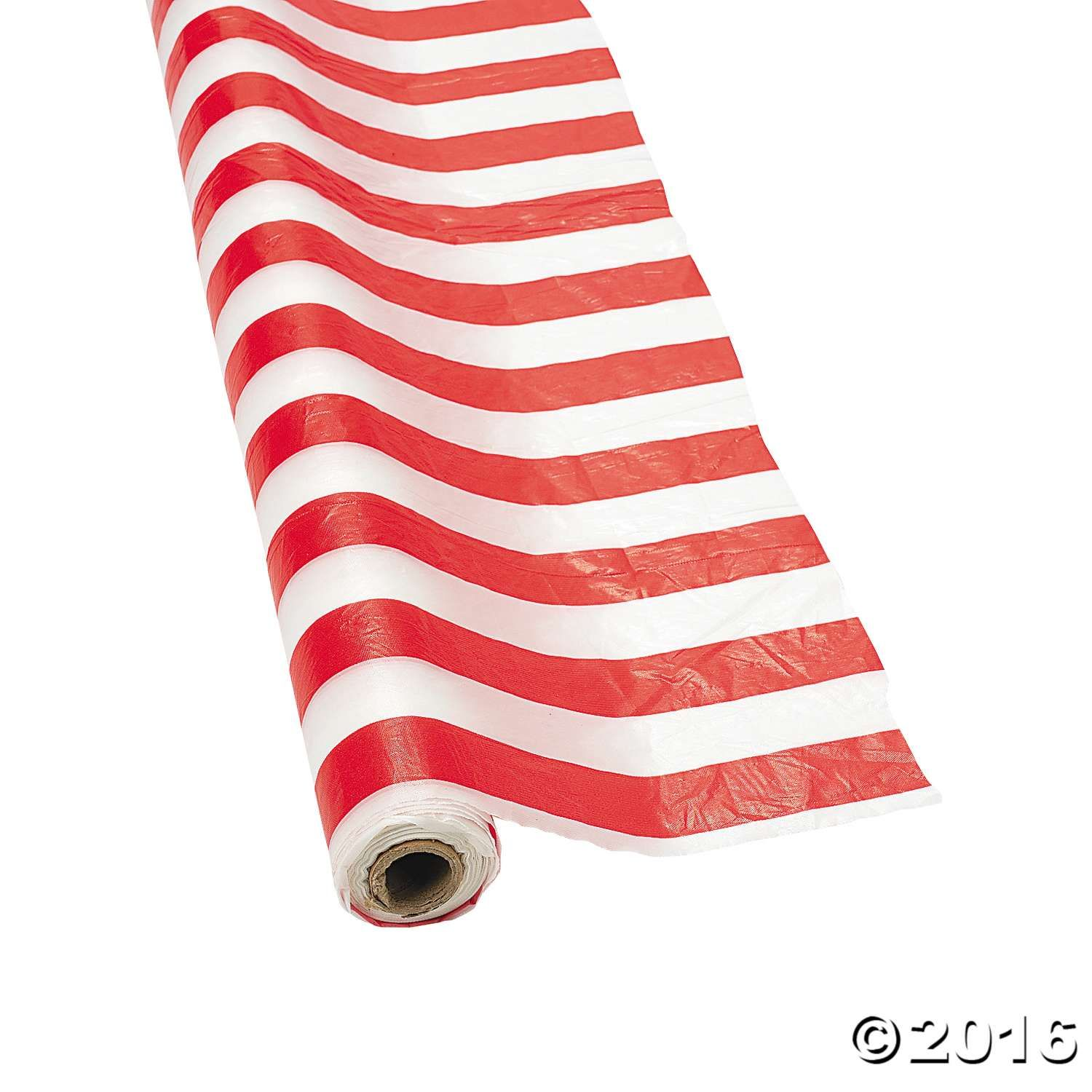 Red White Striped Plastic Tablecloth Roll With Images Circus