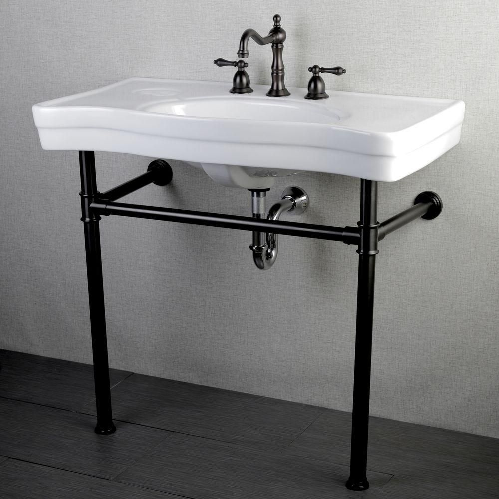 bathroom sink consoles vintage kingston brass console table combo in white with metal 16450