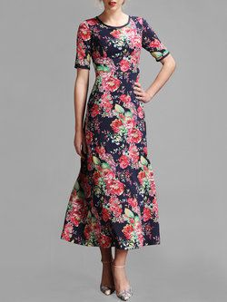 Blue Short Sleeve Printed Crew Neck Midi Dress