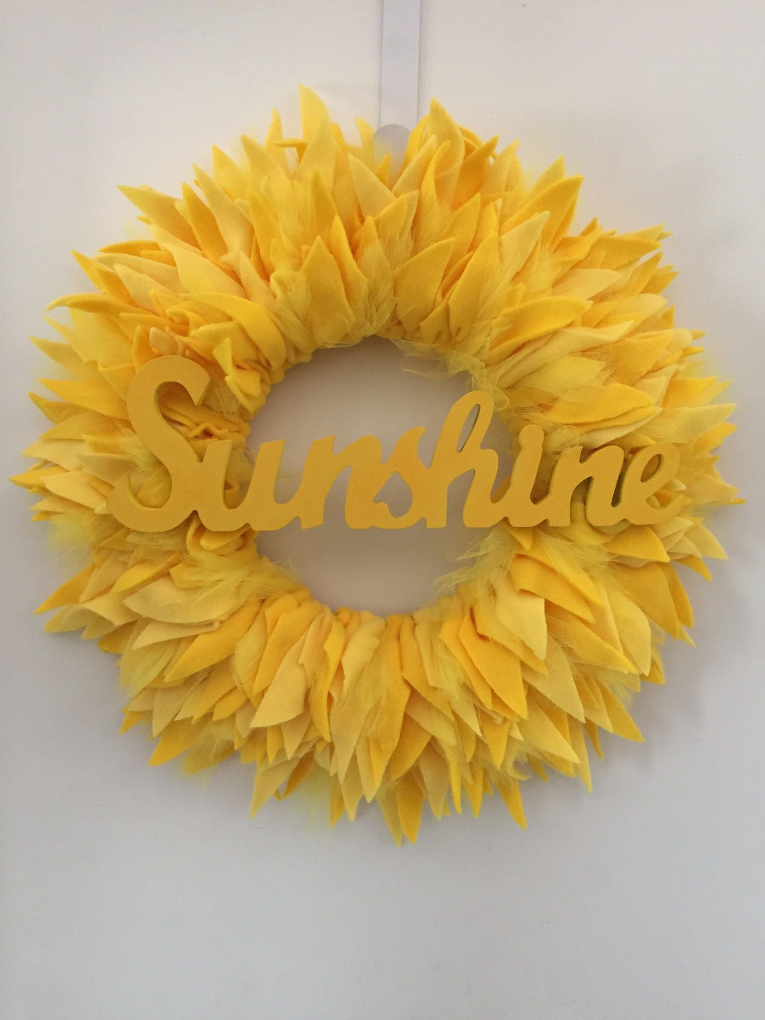 Summer sunny Wreath, sunshine wreath, rag wreath, home decor, front ...