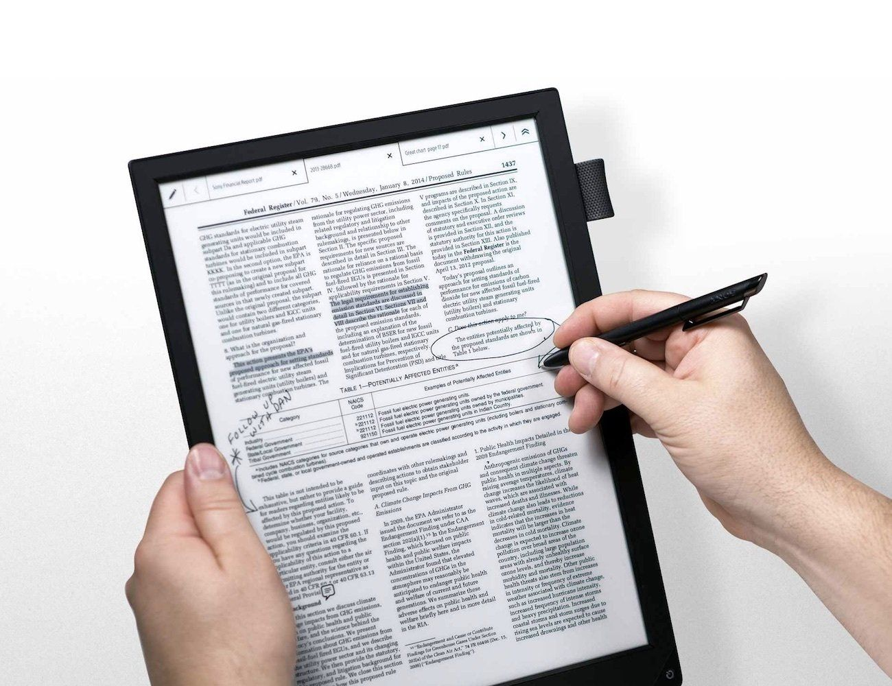 Coming with a stylus, the Digital Paper Tablet also works
