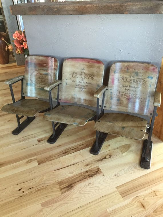 Sold Accepting Custom Orders Vintage French Country Antiqued Theatre Chairs Iron Bench Modern