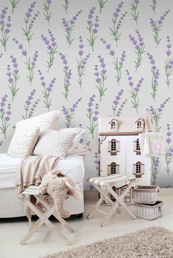 Lavender Flowers Removable Wallpaper Purple And Green Wall Etsy Removable Wallpaper Kids Room Design How To Install Wallpaper