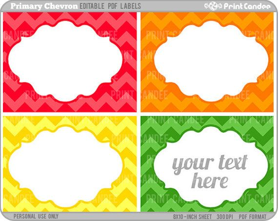 Rectangle - Editable PDF (8x10) - Printable Labels / Cards