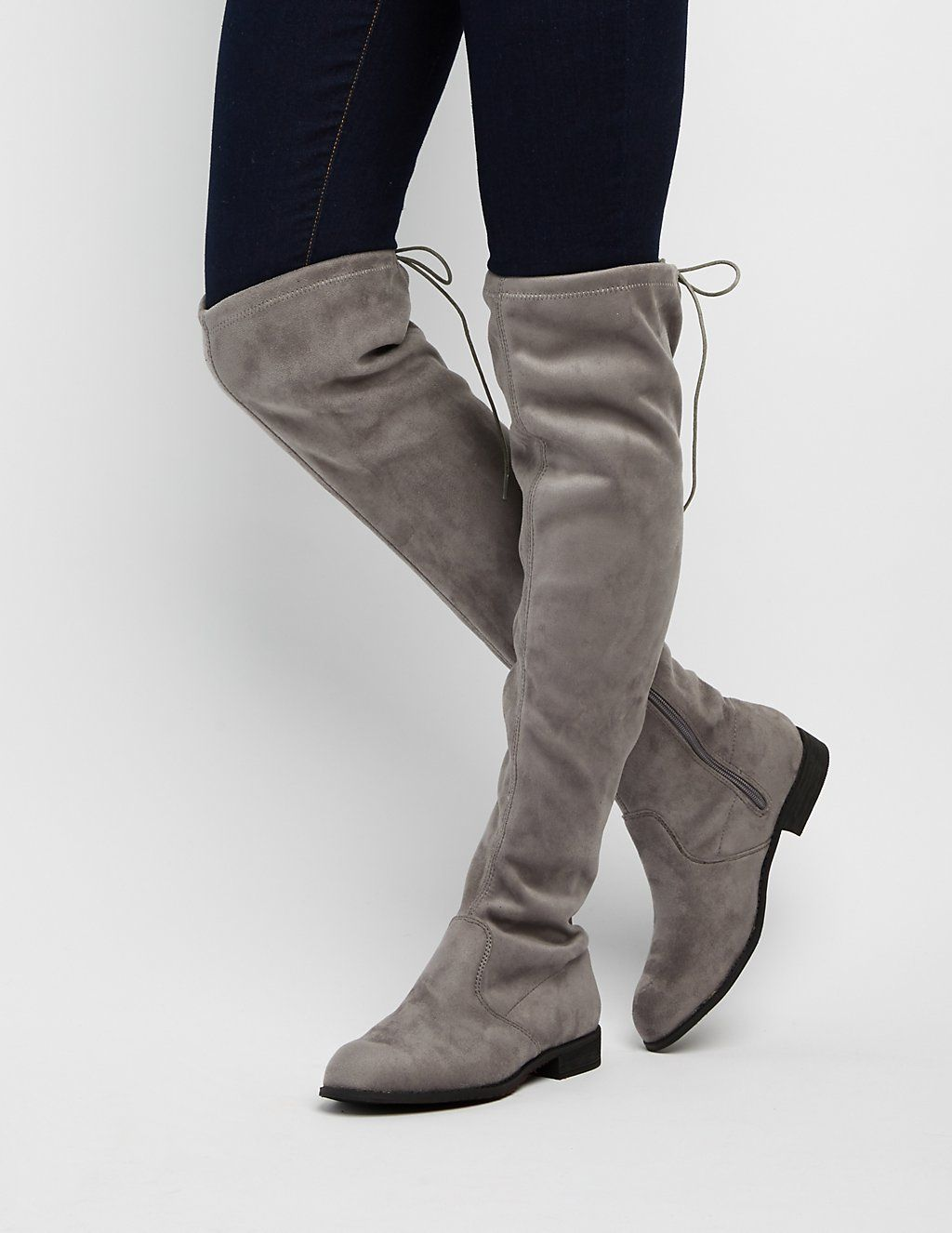 bf67ac79e3f Drawstring Flat Over-The-Knee Boots