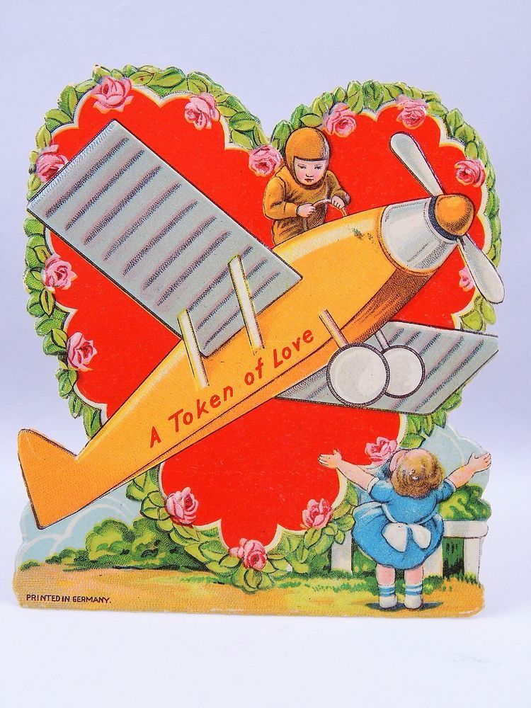 vintage valentines day card a token of love young couple plane stand up germany