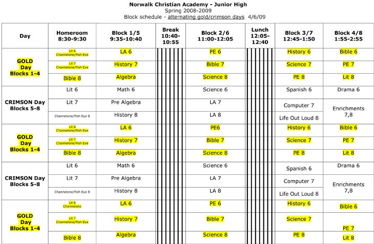 block schedule template example bulletin boards and classroom