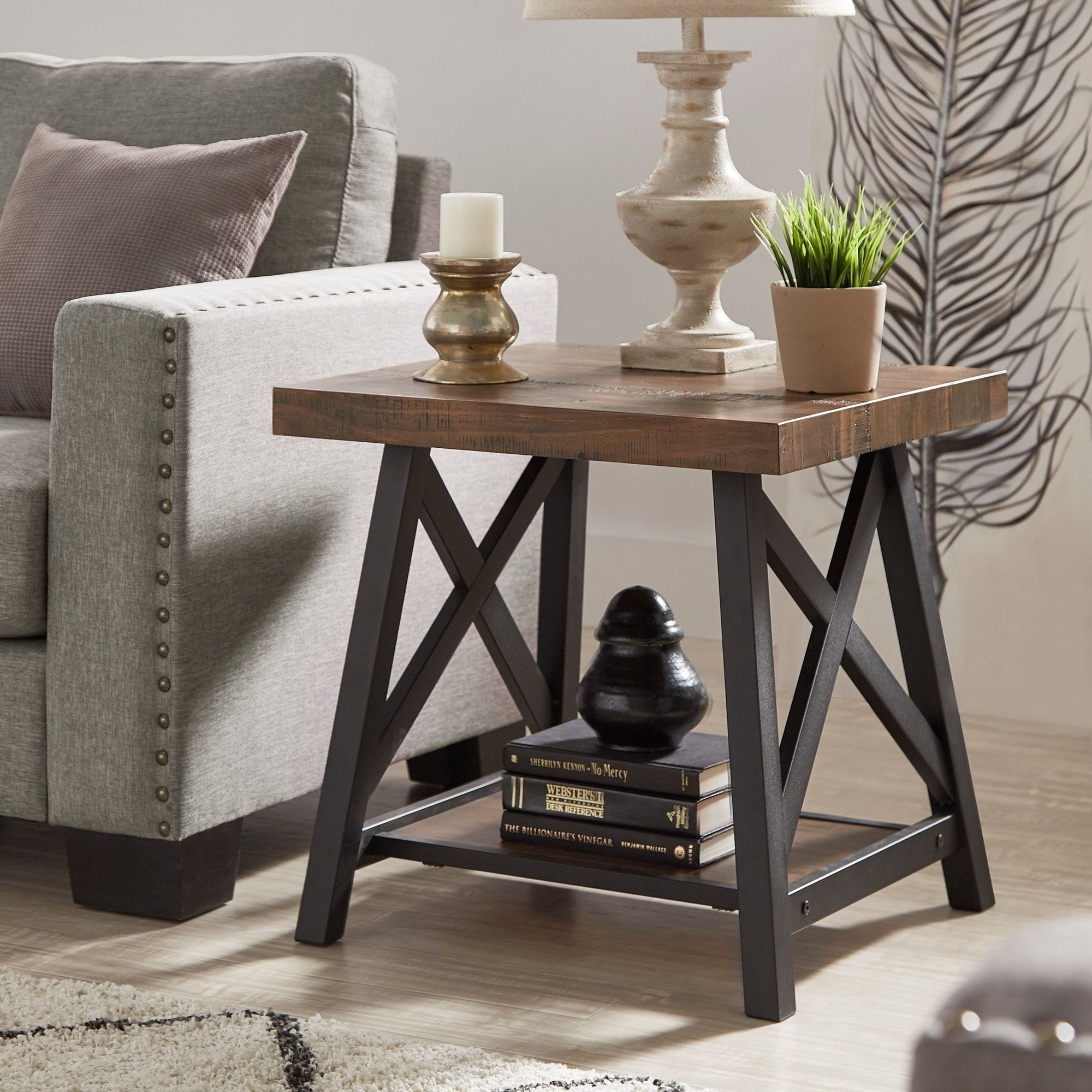 Bryson rustic xbase end table with shelf by inspire q classic