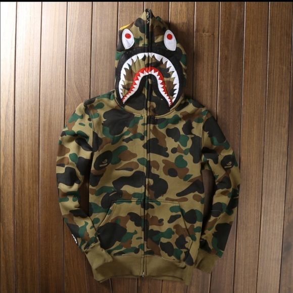 Men s Bape Shark Hoodie Sz S-3XL High quality Men s full zipper bape shark  hoodie camouflage Army Military fleece hoodies and sweatshirts winter mens  camo ... 6c816ec66