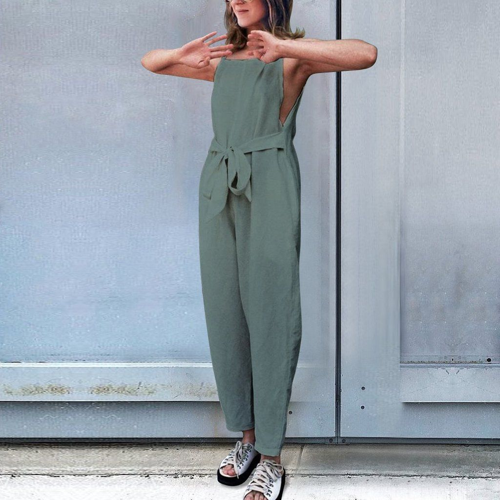 Women/'s Solid Color Sport Jumpsuit Plus Size Casual V Neck Long Sleeve Waistband Rompers with Pocket S-5XL