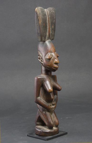 "Shango kneeling figure staff  Yoruba Nigeria Ht.15"" Early 20th century"