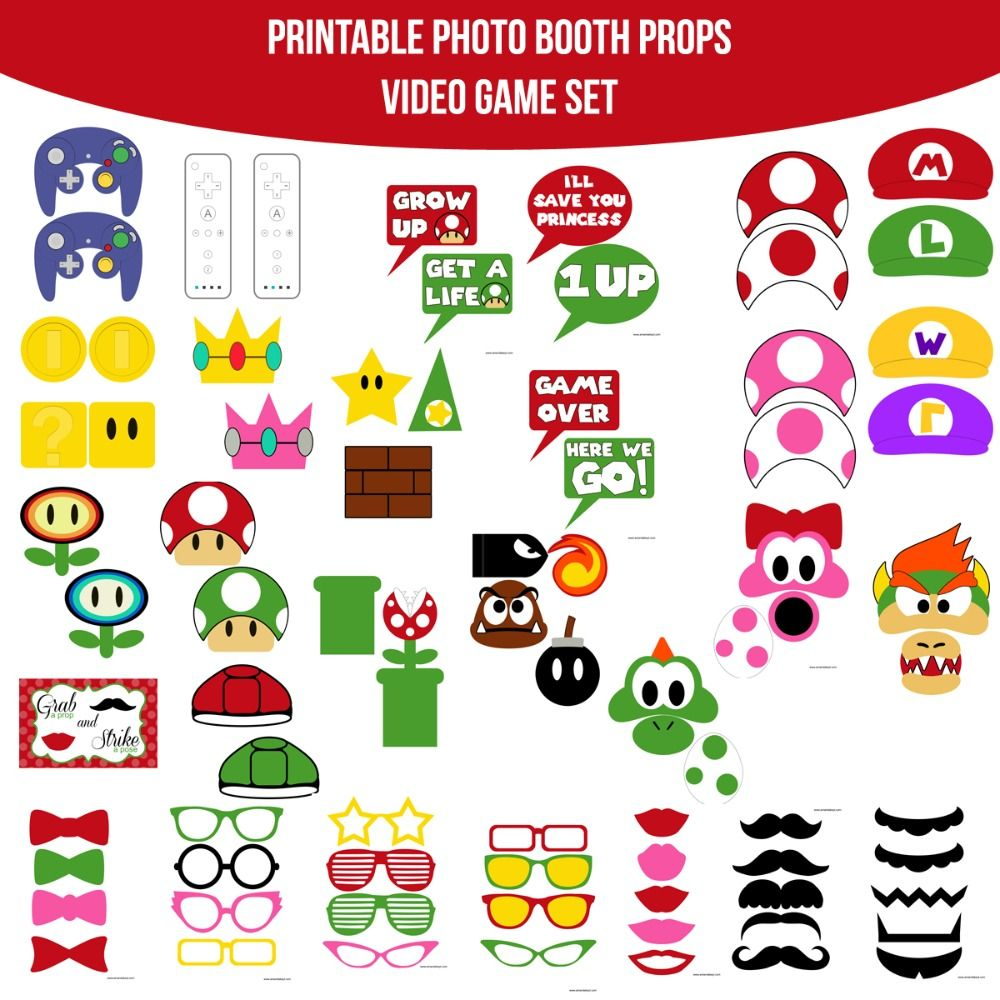 Instant download video game mario inspired printable photo