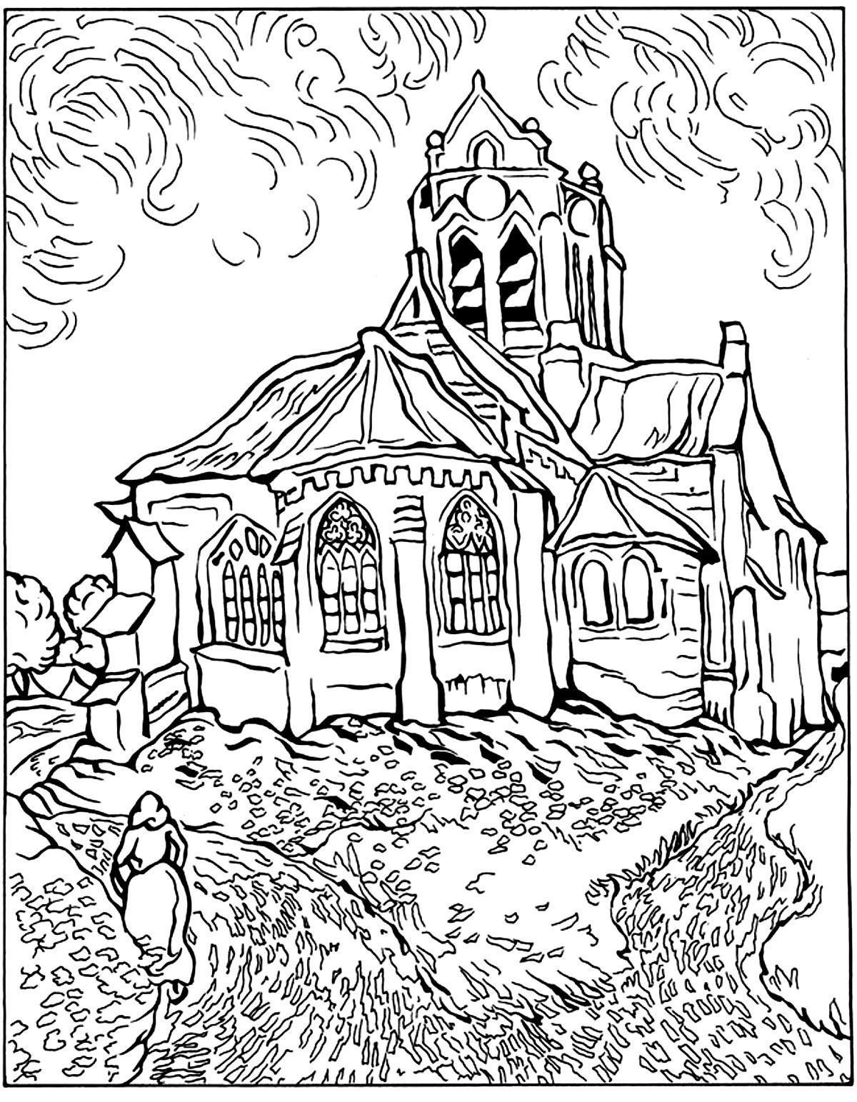 Free coloring page coloring-difficult-van-gogh-auvers-church. The ...