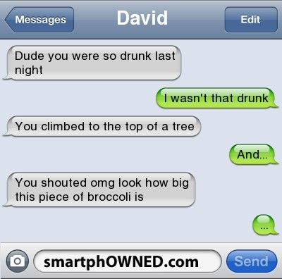 DavidDude you were so drunk last night | I wasn't that drunk | You climbed to the top of a tree | And... | You shouted omg look how big this piece of broccoli is  | ...